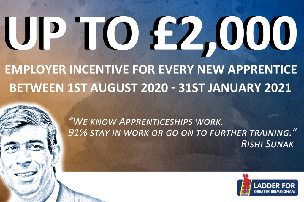 Up to £2,000. Employer incentive for every new apprentice.
